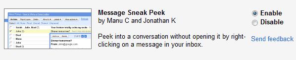 Message Sneak Peek in Gmail Labs