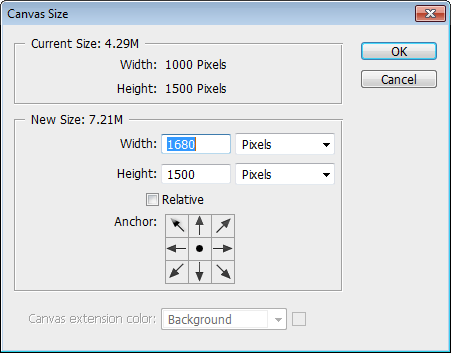 Resize canvas settings