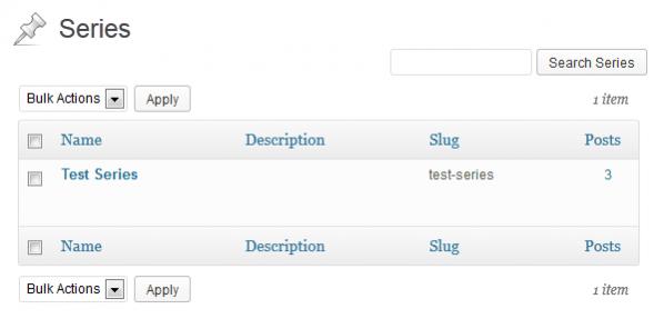 Series management UI