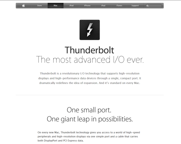 Apple Thunderbolt home page