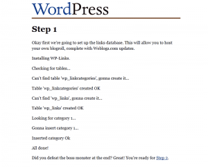 WordPress 1.2 Installation: Step 1
