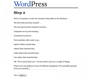 WordPress 1.2 Installation: Step 2