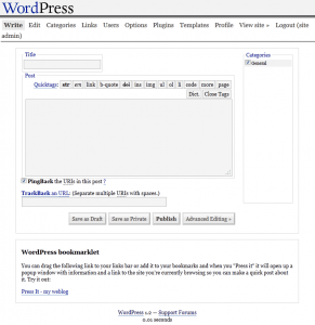 WordPress 1.2 Write Page