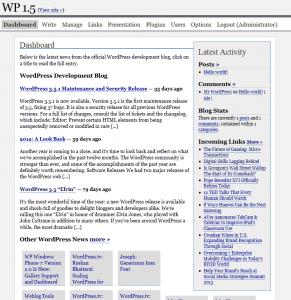 WordPress 1.5 Dashboard