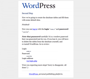 WordPress 1.5 Installation: Step 2