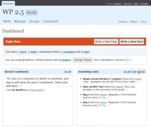 WordPress 2.5 Dashboard