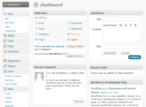 WordPress 2.7 vertical admin menu