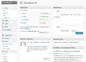 WordPress 2.7 vertical admin menu
