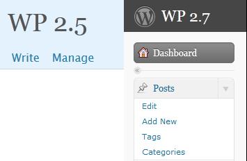 WordPress 2.5 write menu vs WordPress 2.7 posts menu