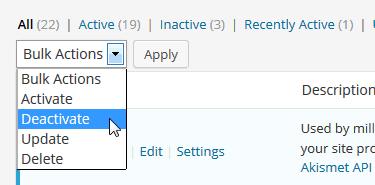 Bulk Deactivate WordPress Plugins